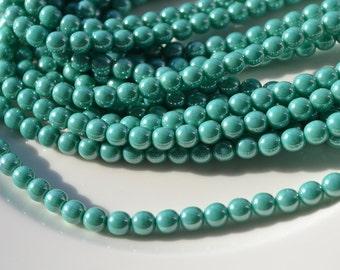 Turquoise Luster 6mm Round Druk Beads   50
