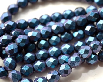 Magic Blue and Purple Luster 6mm Faceted Czech Glass Fire Polish Beads   25