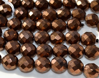 Bronze Faceted 12mm Round FIre Polish Beads   8