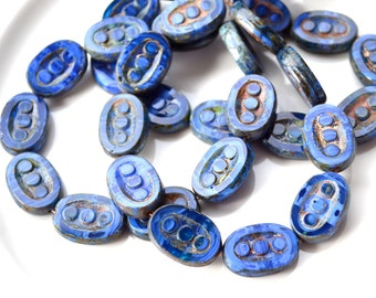 Royal BLue Oval Tablet Beads   6