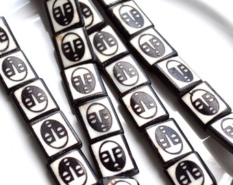 Tribal Face Horn Rectangle Beads   6