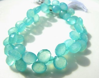 Turquoise Blue Chalcedony Heart Briolette Beads 5