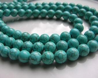 10mm Round Magnesite Turquoise Beads  FULL STRAND