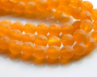 Tangerine Frosted Faceted 10mm Round Beads
