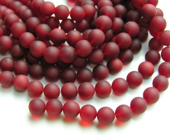 Crimson Red Frosted Sea Glass 10mm Round Beads