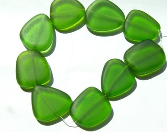 Peridot Green Flat Faceted Freeform Nugget Beads