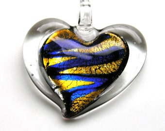 Royal BLue and Gold Lampwork Heart Pendant