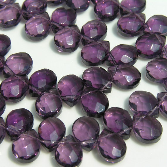 Purple Quartz Faceted Briolette Beads   10