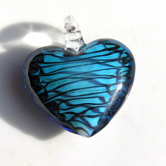 Teal Blue Lampwork Heart Pendant Bead