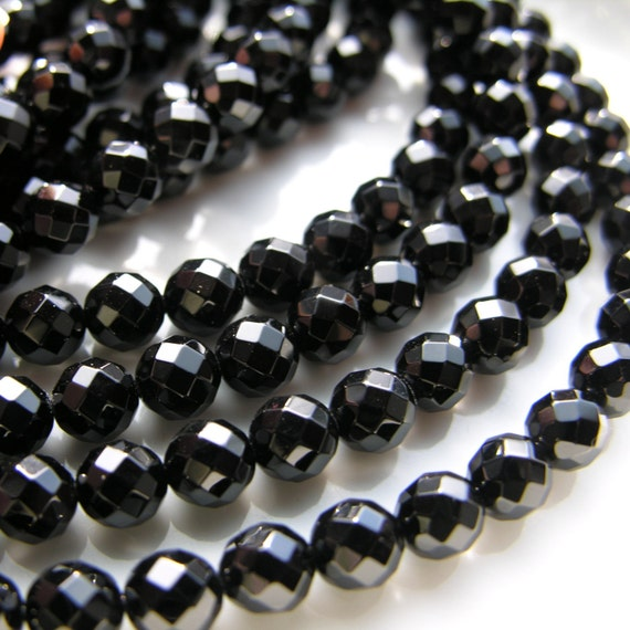 Black Onyx Faceted 10 mm Round Beads   FULL STRAND