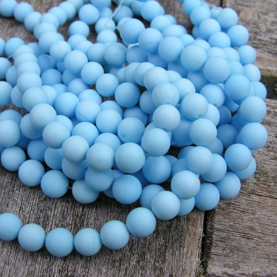 Turquoise Frosted 10mm Round Beads  8 inch strand