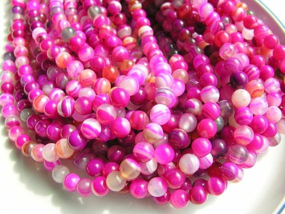 Magenta Striped Agate 12mm Round Beads  FULL STRAND