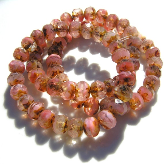 Old Pink PIcasso 8x6mm Faceted Czech Glass Rondelle Beads   15