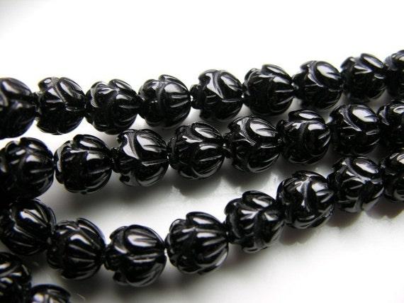 Carved Black Onyx Lotus Beads 16