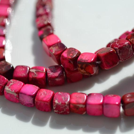 Red Pink Aqua Terra IMpression Jasper 6mm Cube Beads    8 Inch strand