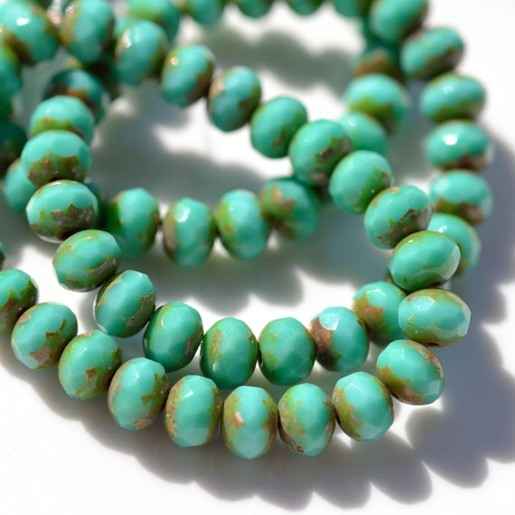 Turquoise PIcasso 7x5mm Faceted Rondelle Beads   25