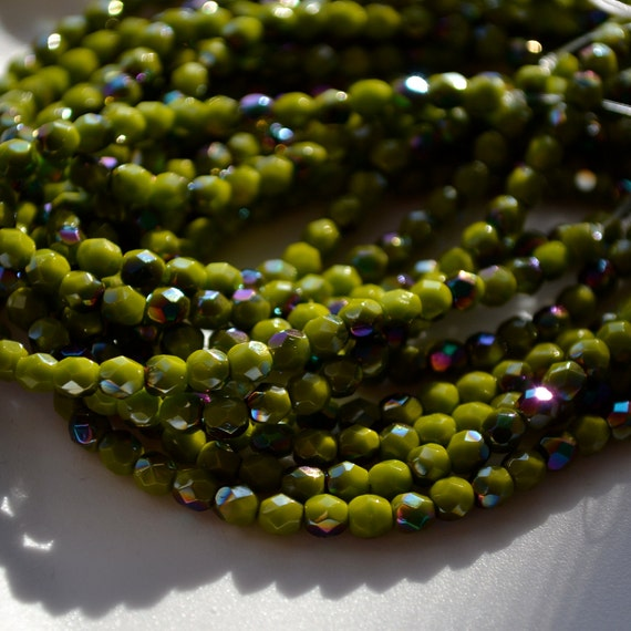 Opaque Olive Green Vitrial 4mm Faceted Fire Polish Round Beads   50