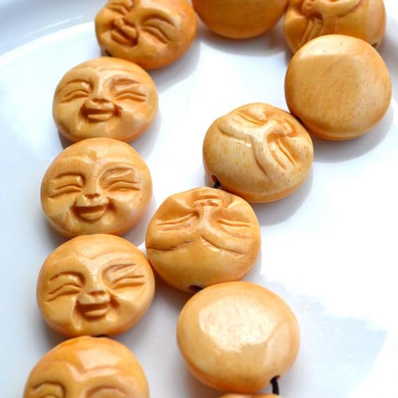 Happy Moon Face Bone Beads   2