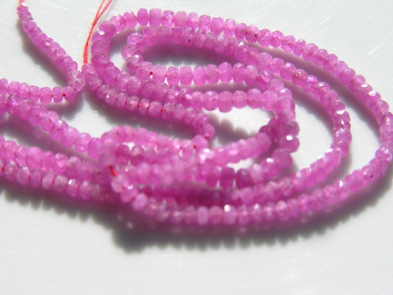 Pink Sapphire Graduated Rondelle Beads  LONG STRAND