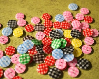 WHOLESALE - 100 Rainbow Gingham Buttons