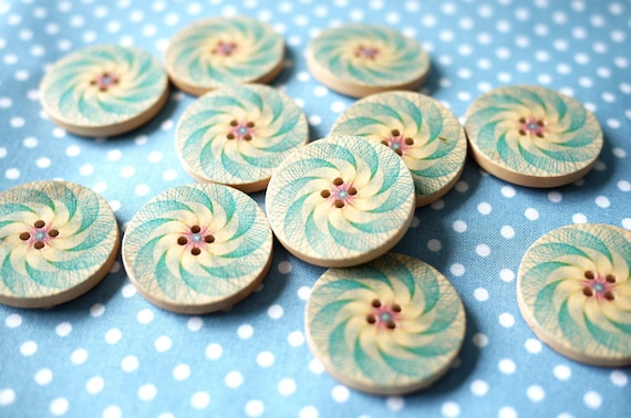 10 Blue Pinwheel Handpainted Buttons (Last Set)