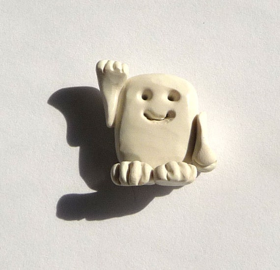 Refrigerator Magnet White Miniature Adipose Alian Dr Who The Doctor Hand Sculpted Handmade