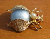 Vintage 1960's Gray and Gold Winged Bug Brooch