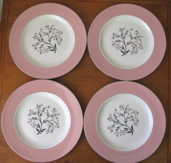 Vintage 1960's Pink and Gray Homer Laughlin Cavalier Springtime Dinner Plates - Set of 4