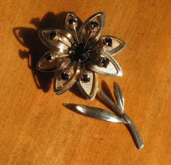 Vintage Black Crystal Flower Brooch