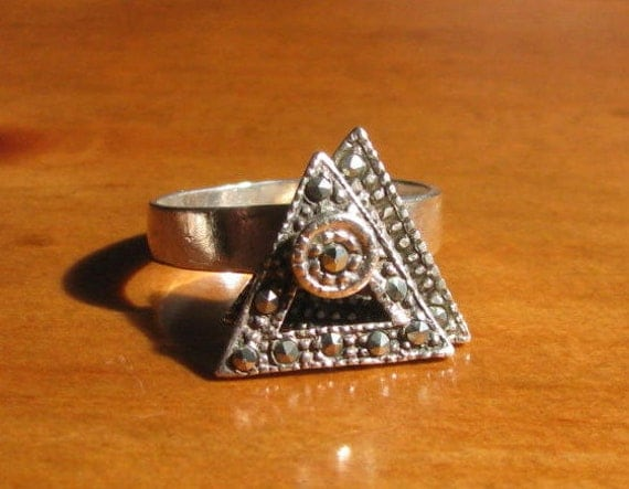 Vintage Sterling Silver and Marcasite Spinning Triangle Ring