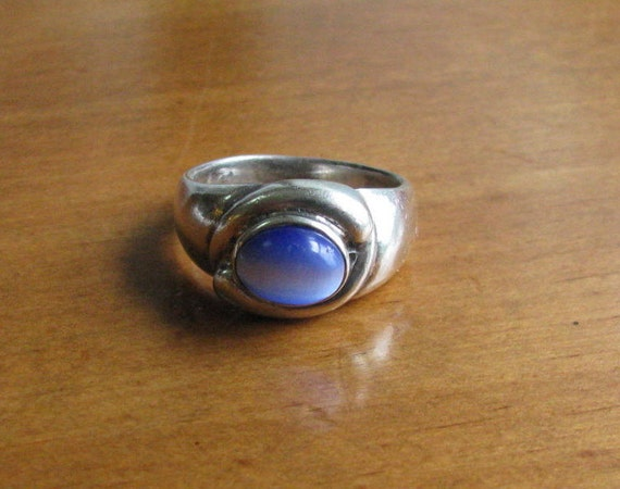 Vintage Sterling Silver Men's Cats Eye Ring