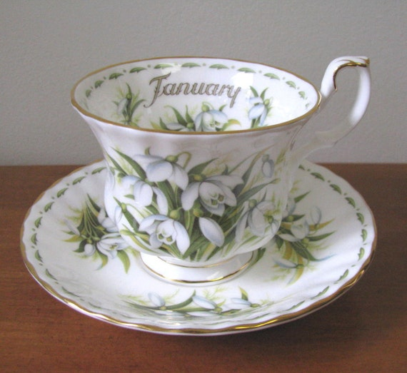 Vintage 1970's Royal Albert Flower of the Month Series - Snowdrops Bone China Teacup