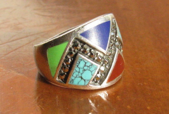 Vintage 1970's Sterling Silver Multi Stone Geometric Ring