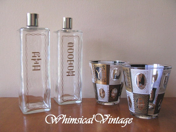 Vintage 1960's Black, Gold and White Rocks Glasses with Glass Decanter Set