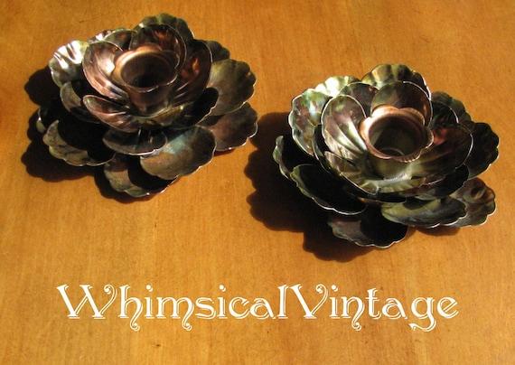 Vintage 1960's Copper Petal Candle Holders - Set of 2