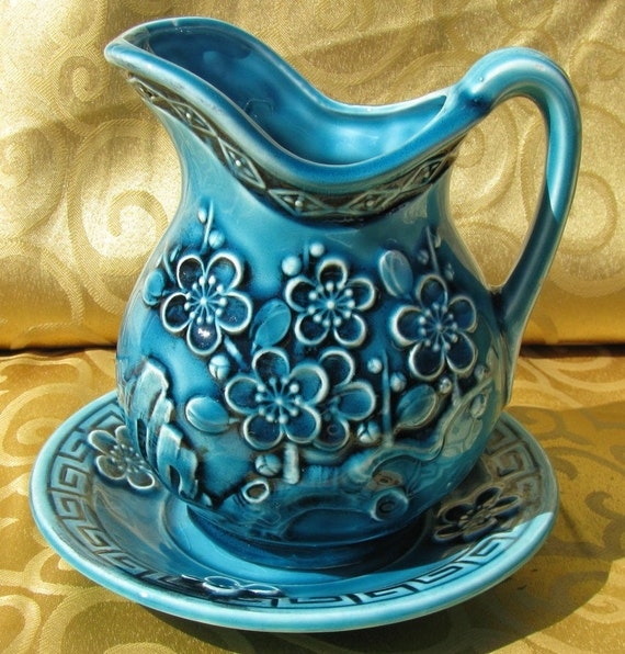 Vintage Blue Dogwood Pitcher with Matching Saucer