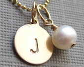 Personalized Necklace - Initial Jewelry - 14k GOLD Filled SMALL Charm Handstamped  Keepsake Necklace with a freshwater pearl