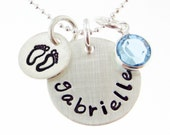 NEW MOMMY Necklace - Hand stamped Baby Feet and Baby Name with a Birthstone (NN032)
