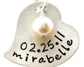 Celebrate New Born Baby - Heart Shape New Mommy Necklace - Hand Stamped Jewelry