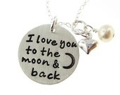 I love you to the moon and back necklace - Sterling Silver necklace with a Heart charm and a pearl (RTS002)