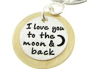 I love you to the moon and back key chain - Sterling Silver and Brass Key Chain (GM017)