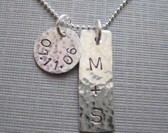 Handstamped Sterling Silver Wedding Anniversay - Personalized Custom Keepsake Necklace