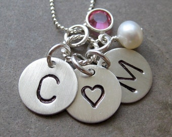 THREE Sterling silver charms with Birthstones or pearls - Hand stamped personalized / Keepsake necklace