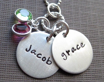 TWO NAME Charm Handstamped Personalized Sterling Silver Keepsake Necklace with Birthstones (NN007)