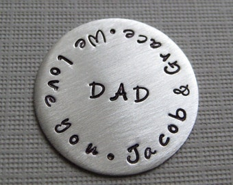 Personalized Golf Ball Marker - Hand stamped sterling silver Golf Ball Marker (GM002)