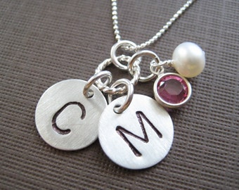 TWO INITIALS Hand stamped sterling silver / Name tag necklace with a Pearl or Birthstones (NI013)