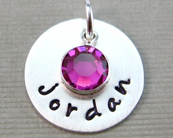 ADD a Name Charm with a Birthstone - 5/8 inch Round Sterling Silver Tag (AO003)