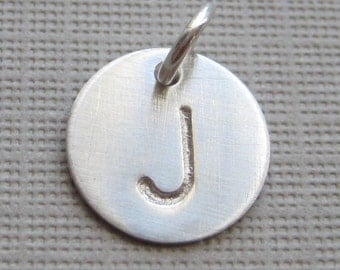 Add a Hand Stamped Initial Charm - 1/2 inch Round sterling silver tag (AO006)