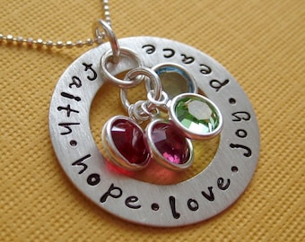 Hand Stamped Jewelry - Children's Names - Mothers Birthstone Necklace - Personalize with names dates and birthstones (NN031)