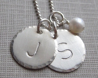 Hand stamped personalized sterling silver - Keepsake necklace with a pearl or a birthstone (NI009)
